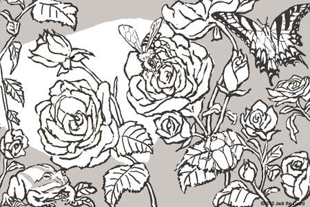 Coloring Pages of Bugs and Roses