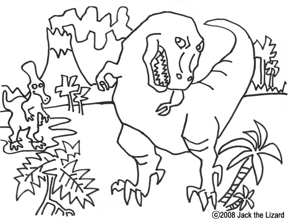 Colouring Page of T.Rex, Dinosaurs