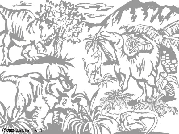 Coloring Pages of Animals in the North America during the late Cretaceous period, Dinosaurs
