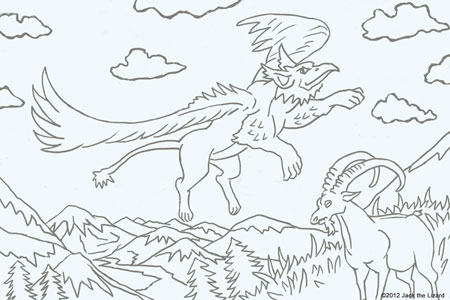 Animals in legend coloring pages jack the lizard wonder for Griffon coloring page