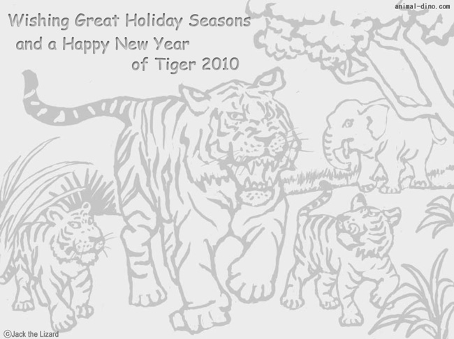 Coloring Pages of Season's Greeting The New Year of Tiger 2010