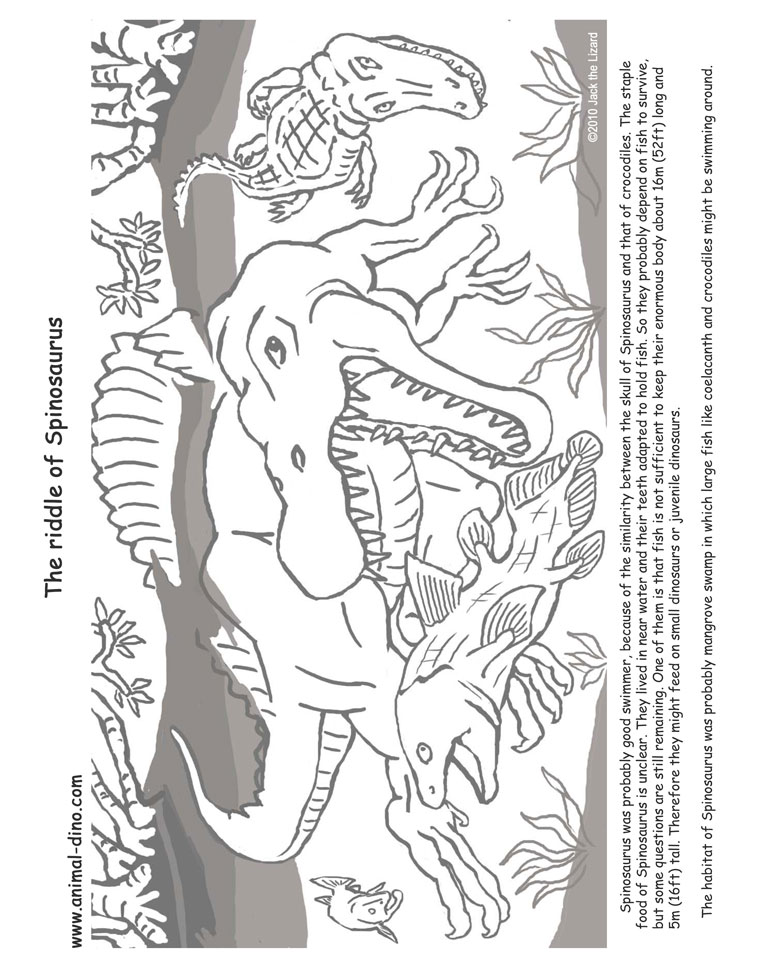 animal coloring page spinosaaurus print size jack the lizared wonder world - Lego Jurassic Park Coloring Pages
