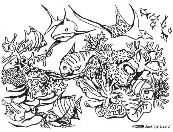 Colouring Page of Coral, Fish, Shark and Ray