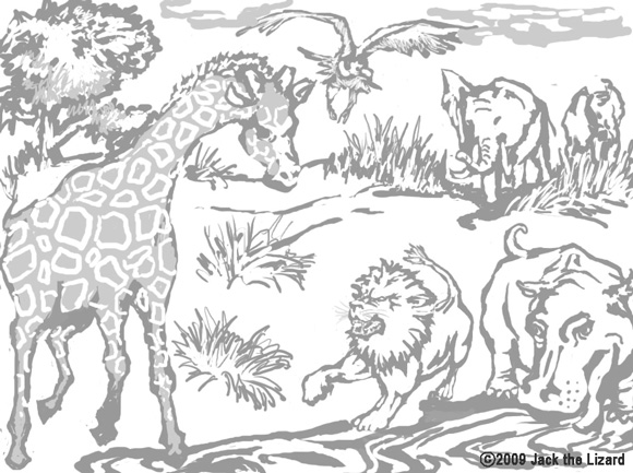 Coloring Pages of Jaguar, desert tortoise
